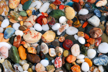Multicolored sea pebbles in the water on the shore for background or wallpaper.