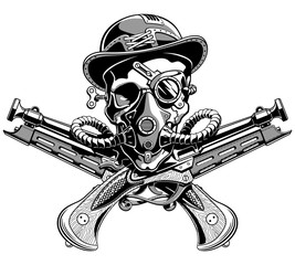 skull hat crossed pistols Pirate Jolly Roger Steampunk vector il