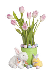 Pink Pastel & White Tulips sit in a pot of candy with a bunny ra