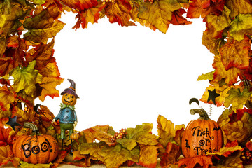 Halloween Frame with Scarecrow and Pumpkins