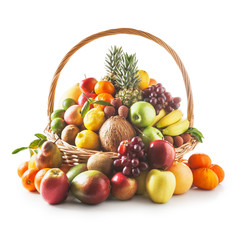 Photo sur Plexiglas Fruit Basket with fruits