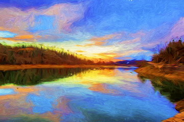 Plastiras lake in central Greece - Painting effect