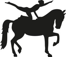 Horse Vaulting woman silhouette Voltigieren