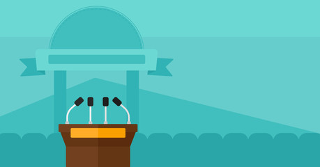 Background of tribune speech with microphones.
