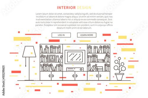 Interior Design Landing Page Linear Vector Illustration