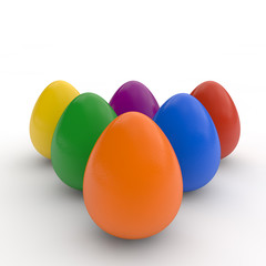 Happy easter eggs, poster, colored realistic eggs, white background, holiday card, isolated