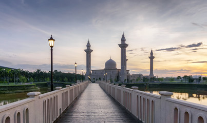 A newly constructed walkway to the mosque during sunrise.