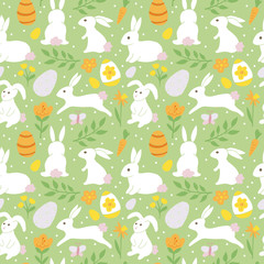 Easter holiday background seamless pattern with easter bunny. Ha