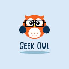 Retro Geek Owl Vector Logo Template. Flat design. Stock vector.