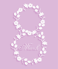 Abstract floral background for greeting card on March 8. Trendy design template womens day with long shadows