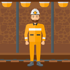 Confident miner in hardhat.