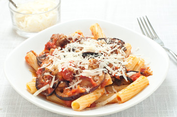 Pasta with tomato sauce with fried eggplant