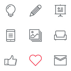 Thin 2px line vector icons for user interfaces