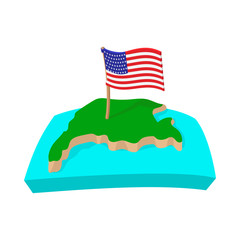 USA map with flag icon, cartoon style