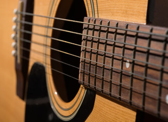 classical acoustic guitar close up isolated on a white backgroun