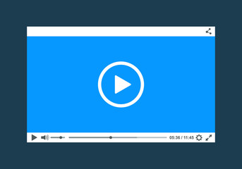 Flat clean video player for web