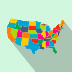 Colorful USA map with states flat icon