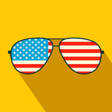 American flag glasses flat icon