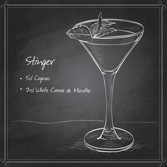 Cocktail alcoholic Stinger on black board