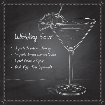 Cocktail Whiskey sour on black board