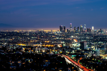 Long exposure night view of Los Angeles downtown and surrounding metropolitan area from Hollywood hills