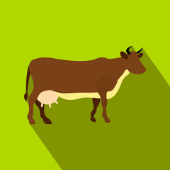 Brown cow flat icon