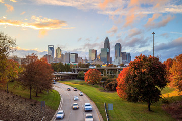 Skyline of downtown Charlotte in north carolina Wall mural