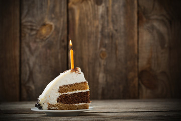 Birthday Cake on wooden background