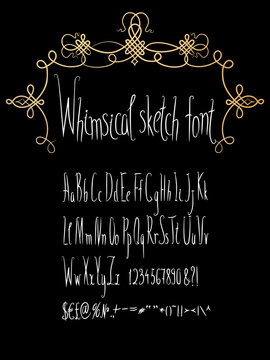 Hand made whimsical sketch font with gold flourish frame. Hand drawn English alphabet collection. Vector letters set, upper and lower case, numbers, symbols, sighs, ampersand. Clean, easy to edit.