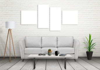 Four Isolated Wall Art Canvas Mock Up Sofa Lamp Plant And Table In