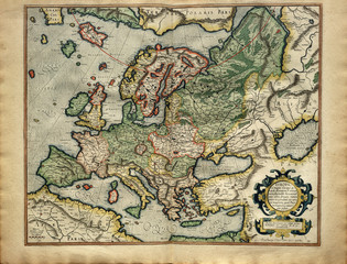 Old map of Europe, printed in 1587 by Mercator