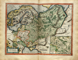Old map of the Russia, printed in 1587 by Mercator