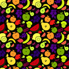 Drawings of  сolourful fruits and berries / on a black  background.