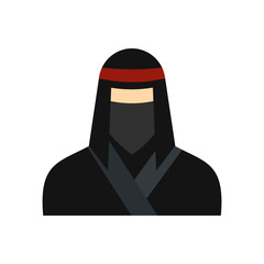 Female ninja in a black mask flat icon