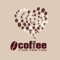 Coffee heart  illustration Heart of the coffee beans for coffee lovers