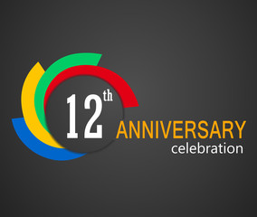 12th Anniversary celebration background, 12 years anniversary card illustration - vector eps10