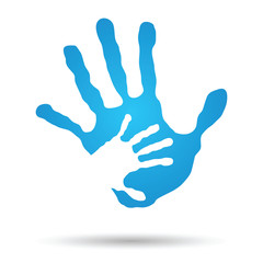 Vector conceptual mother and child blue hand print isolated