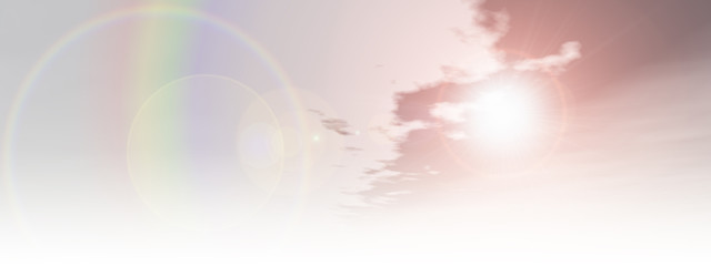 Beautiful natural rainbow sky with white clouds background banner