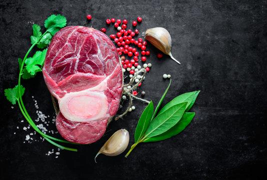 Raw beef shank