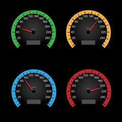 black speedometer dial