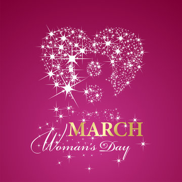 Womans Day 8 March stars gold pink background