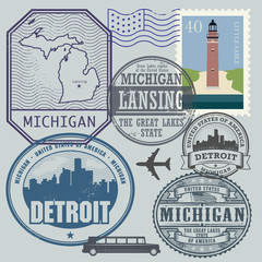 Stamp set with the name and map of Michigan, United States