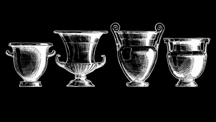 Forms of kraters. Greek vessel shapes.