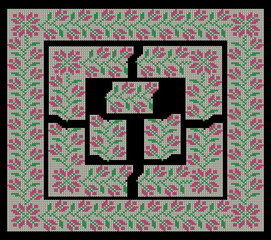 Set to create decorative knitting borders and frames, floral pattern, floral pattern, jacquard pattern, fabric border, vector illustration