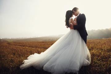 Romantic fairytale newlywed couple hug & kiss in field at sunset