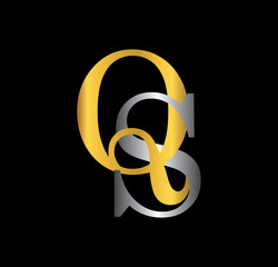 QS initial letter with gold and silver
