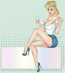 Sexy Pin-up woman with phone answer the call