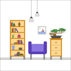 Modern flat design of Interior of a living room with chest of drawers, armchair, rack, bonsai, picture. Colorful vector illustration