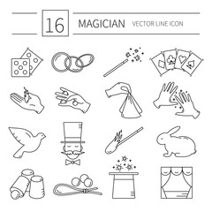 vector line magician icons.