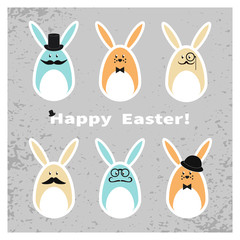 Easter bunny set. Collection of cute Easter rabbits. Happy Easter card. Holiday vector background.